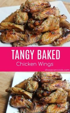 These flavorful, tangy baked chicken wings are loved by kids and adults. They have simple ingredients and are easy to make. Great for baby showers and parties. Butter Chicken, Parmesan Chicken Wings, Baked Chicken Wings, Oven Baked Chicken, Chicken Wing Recipes, Chicken Drumsticks, Teriyaki Chicken, Keto Chicken, Chicken Thighs