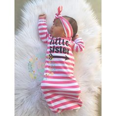 Little sister Baby girl gown pink stripe gown baby gown coming
