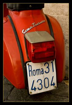 """""""Dulce vita on a Vespa"""" (Sweet life on a Vespa) by Inasia Jones...    Vespa is both Latin and Italian for wasp — adopted as a name for the vehicle in reference for the high-pitched noise of the two-stroke engine and for its body shape: the thicker rear part connected to the front part by a narrow waist, and the steering rod resembled antennae."""