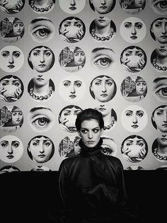 Anne Hathaway with prints by Piero Fornasetti. Photographed by Kurt Iswarienko. °