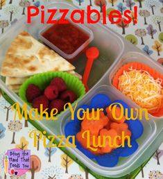 Pizza lunch box. Yum! DETAILS HERE: http://www.bitingthehandthatfeedsyou.net/2013/01/diy-pizza-lunchables-bento-school-lunch.html