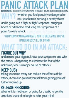 When you are experiencing an attack your mind is running wild, which is why I made a simple and easy to read Printable that can be used in times of distress. Click the link below to download the PDF to be able to print the Panic Attack Plan or save the image below to store on your device for future reference!