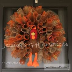 Made to Order Turkey Mesh Wreath/Thanksgiving Wreath/Burlap/Front Door Wreath/Seasonal Wreath/Fall Decor/Autumn Door Hanger/Holiday Wreath - guirlanda - Thanskgiving Fall Deco Mesh, Deco Mesh Wreaths, Holiday Wreaths, Door Wreaths, Halloween Deco Mesh, Holiday Decorations, Wreath Crafts, Diy Wreath, Burlap Wreath
