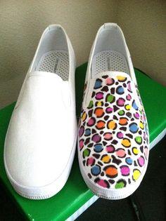 D.I.Y Colorful Leopard Print Shoes.