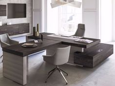 I like a lot this contemporary and modern office space, because of the simplicity and neutral color palette. The brown and gray colors reminds me of the very calm interior, that's excellent for everyday work. Office Desk Set, Office Table Design, Executive Office Desk, Modern Office Desk, Modular Office, Office Interior Design, Office Interiors, Mesa Home Office, Home Office Desks