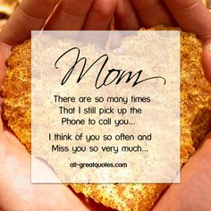 Mom .. There are so many times that I still pick up the phone to call you... I think of you so often and miss you so very much...