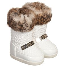 Roberto Cavalli - Girls White Snow Boots with Fur Trim   Childrensalon