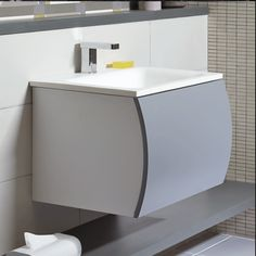 Cisco 600 wall hung vanity unit with ceramic basin - Gloss white | bathstore