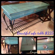 """I love how this table turned out! I painted it """"Van Gogh"""" and then glazed it with our cabinet glaze, for a more antique look and then sealed it with our awesome 'tough as nails' table top finish, and I had to add the glass knob! Aren't the legs gorgeous and there's lots of storage on the shelf underneath... Www.albertadames.ca"""