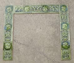 17 Tile J & Jg Low Fireplace Surround Antique Tiles, Fireplace Surrounds, Urn, Mosaic, Stone, Antiques, Antiquities, Rock, Antique
