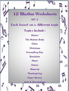 $ Educational and fun! 12 RHYTHM Worksheets for young musicians - 12 great themes Set 2