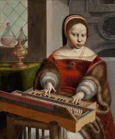 ab. 1530 workshop of Jan van Hemessen - Young Woman Playing a Clavichord