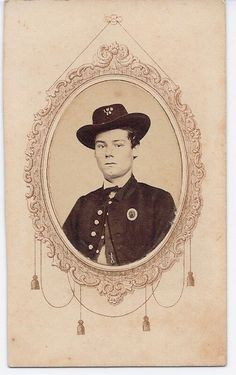 CDV of an Un-identified Private in the famed 19th Indiana Volunteer Infantry of thefamed Iron Brigade. Shown wearing a 1st Corps Badge on his breast with IND and 19on his hat (first time I have seen this insignia of a 19th Indiana Soldier).  The IronBrigade famed for its tough fighting at 2nd Bull Run, in the Cornfield at Antietem andMcPherson's woods at Gettysburg was considered the toughest Brigade in the Union Army. Very Rare.