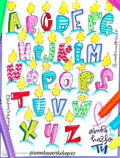 Pretty Fonts Alphabet, Pretty Letters, Hand Lettering Alphabet, Doodle Lettering, Creative Lettering, Lettering Styles, Bullet Journal Font, Journal Fonts, Alphabet Drawing