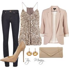 A fashion look from December 2012 featuring Vince tops, Topshop blazers and J Brand jeans. Browse and shop related looks.