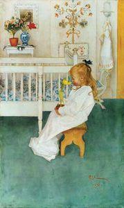 Carl Larsson - lisbeth` con amarillo tulipán