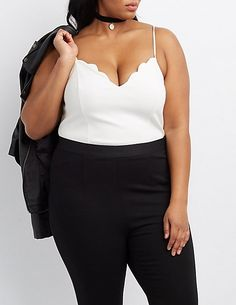 Plus Size Scalloped V-Neck Bodysuit