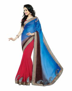 Blue and tomato red color Partywear saree-Embroidery work faux Georgette designer saree