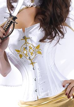 White Pirate Corset Costume with Pattern