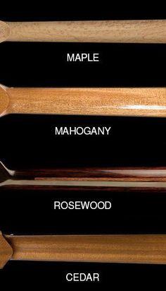 Compare standard woods for guitar neck: maple, mahogany, rosewood, cedar. Guitar Kits, Music Guitar, Guitar Chords, Cool Guitar, Acoustic Guitar, Guitar Amp, Cigar Box Nation, Stratocaster Guitar, Archtop Guitar