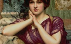 A Classical Beauty Art Print featuring the painting A Classical Beauty by John William Godward John William Godward, John Waterhouse, Greek Beauty, Thing 1, Painting Of Girl, Pre Raphaelite, Victorian Art, Detail Art, Beauty Art