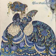 """2016.07.05 かなり迷走したけどなんとか完成さしました♪( ´▽`)。。見開きだけどこれで完成とします(^◇^;)このイラスト本当にかわいい💕💕 A page from """"Princesses and Fairies Colouring Book"""", colored by Polychromos, Holbein colored pencils and Daiso pastel.  #コロリアージュ #大人の塗り絵 #大人のぬり絵 #塗り絵 #ぬりえ #お姫さまと妖精のぬり絵ブック #田代知子 #シンデレラ #おとぎ話luvcoloriage #tomokotashiro #cinderella #colouring #coloriage #coloringbook #moncoloriagepouradultes #coloriagenostress #arte_e_colorir #adultcoloring #nossa_vida_colorida #colorindo #colorir Cinderella Coloring Pages, Coloring Book Pages, Coloring Tips, Adult Coloring, Coloring Tutorial, Decoupage, Japanese Artists, Colorful Drawings, Fantasy Books"""
