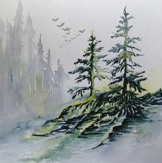 Evergreens in the Mist Painting  - Evergreens in the Mist Fine Art Print by Joanne Smoley