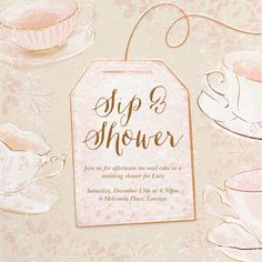 Showers and parties | Send online instantly | RSVP tracking Bridal Shower Invitations, Tool Design, Afternoon Tea, Rsvp, December, Place Card Holders, Showers, Party, Wedding