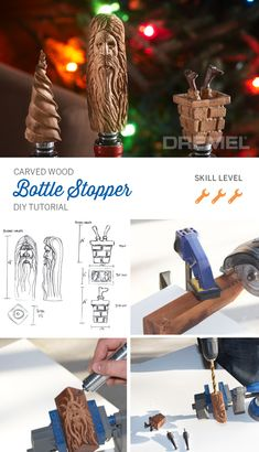 Carved wood bottle stoppers are the perfect homemade gift or stocking stuffer. Get started on yours with this step-by-step tutorial from Dremel. Dremel Projects, Small Woodworking Projects, Metal Projects, Craft Day, Craft Gifts, Cheap Christmas, Christmas Tree, Christmas Gifts, Wood Crafts