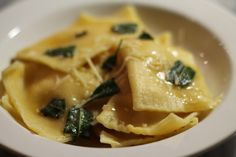 Butternut Squash Ravioli with Shallots and Fresh Ricotta: A recipe for how to make butternut squash ravioli with shallots and fresh ricotta. Served with brown butter and sage.