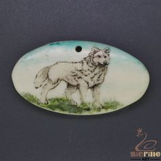 Scrimshaw Pendant  Carved Hand Painted Wolf  Stamp ZL201208 #ZL #Pendant