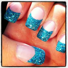 Teal rock star nails