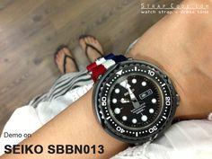 Seiko Tuna Marine Master SBBN013 1000m on MiLTAT 22mm 3 Rings Zulu JB military watch strap ballistic nylon armband - French Flag & Brushed Hardware [22A22BZZ00N4S02]