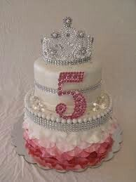 Gorgeous jeweles pearl ruffle skirt two layer pink white princess cake with crown