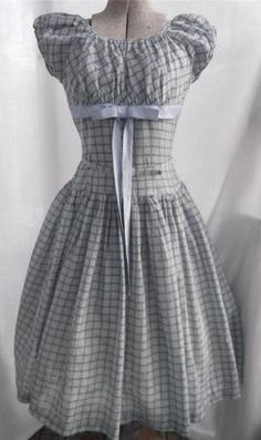 Vintage 1940s Dress Cotton Gingham Plaid Fashioned By Betty Lou Rockabilly VLV