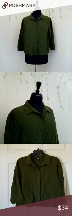 EILEEN FISHER Linen Olive Green Shirt M Standard length Linen button up shirt with 3/4 length sleeves.  Preowned with no flaws.  Olive Green. Size M Eileen Fisher Tops Button Down Shirts