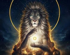 Soul Keeper - Signed Fine Art Giclee Print - Wall Decor - Fantasy Lion - Painting by Jonas Jödicke - malerei - Animals Fantasy Kunst, Fantasy Art, Fantasy Creatures, Mythical Creatures, Lion Painting, Lion Wallpaper, Lion Art, Animals Beautiful, Art Drawings