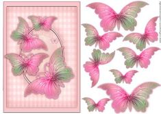 Beautiful Butterflies on Craftsuprint designed by Marijke Kok - Beautiful butterflies in soft pastel pink, for any occasion, use your own wording. - Now available for download!