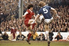Everton 2 Liverpool 2 in April 1977 at Maine Road. Kevin Keegan and Ken McNaught battle for the ball in the FA Cup Semi Final.