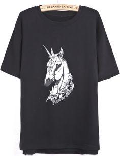 Black Short Sleeve Horse Print Split T-Shirt - Sheinside.com