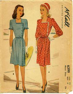 1940's Vintage Dress Pattern McCALL 6399 by shellmakeyouflip, $22.50