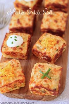 Leftover Mashed Potato Puffs 2 eggs cup sour cream, plus more for serving 1 heaping cup shredded sharp cheddar cheese 2 tablespoons grated Parmesan 2 tablespoons chopped chives salt and black pepper, to taste 3 cups mashed potatoes Potato Dishes, Food Dishes, Side Dishes, Main Dishes, Side Dish Recipes, Low Carb Recipes, Cooking Recipes, Skillet Recipes, Protein Recipes