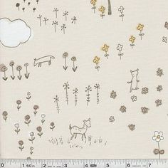 Megumi Sakakibara's beautifully simple artwork is incredible on fabric! This print features a wildflower meadow with woodland animals cavorting about.This quilting weight Japanese fabric is 43/44