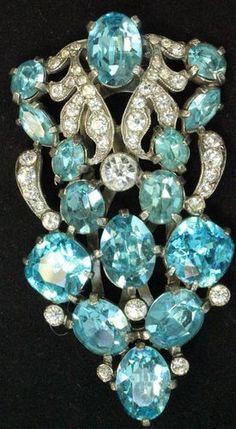 Vintage Signed Eisenberg Ice Blue & Clear Rhinestone Dress/Fur Clip 1930's