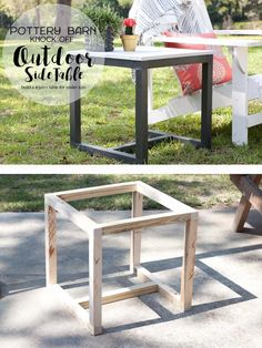 ideas for pottery barn outdoor furniture patio diy table Diy Garden Furniture, Diy Outdoor Furniture, Diy Furniture Plans, Furniture Projects, Home Projects, Furniture Design, Furniture Layout, Wood Furniture, Building Furniture