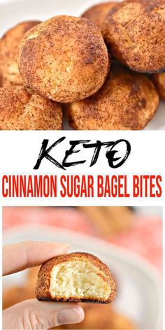 {Keto Bagel} Yummy low carb bagel bites everyone will love! No need to give up bagels on a ketogenic diet. Make this easy keto cinnamon sugar bagel bites recipe w/ fathead dough. Spread on cream cheese, sweet blueberry / strawberry jam, butter. Keto Bagels, Low Carb Bagels, Keto Bread, Keto Pancakes, Bread Food, Sourdough Bread, Bread Baking, Baking Soda, Bagel Bites