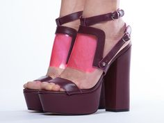 These magenta heels take chunky to a new level
