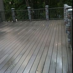 Composite decking with stone columns