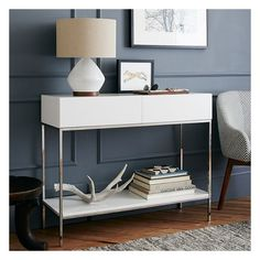 West Elm West Elm Storage Console, White Lacquer - Accent Tables -... ($499) ❤ liked on Polyvore featuring home, furniture, white, west elm console, west elm furniture, storage console, white furniture and white storage console