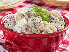 The key to making this red potato salad taste phenomenal is to use fresh dill. Our Dilly Dally Potato Salad recipe is a lightened-up version of one of your favorite potato salads. Everyone at your potluck will enjoy this tasty dish!
